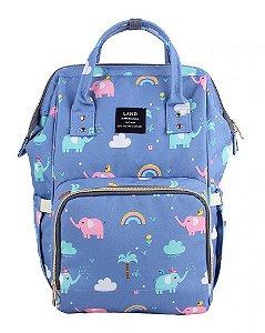 Bolsa Mochila Maternidade Land Azul Elefante Térmica