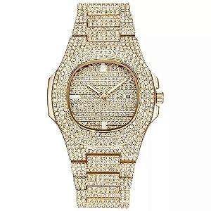 relógio cravejado masculino feminino dourado hip hop Genebra