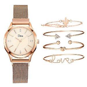 Kit relogio bracelet feminino dourado branco cravejado Disu