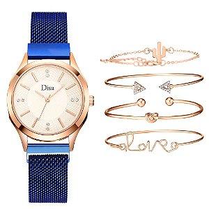Kit relogio bracelet feminino dourado azul cravejado Disu