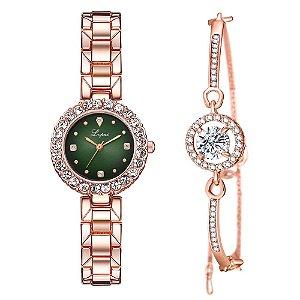 Kit relogio bracelet feminino dourado verde cravejado Lupai