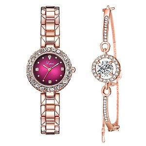 Kit relogio bracelet feminino dourado rosa cravejado Lupai