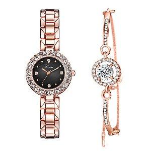 Kit relogio bracelet feminino dourado preto cravejado Lupai2