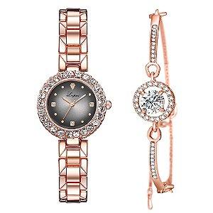 Kit relogio bracelet feminino dourado preto cravejado Lupai1