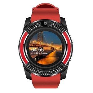 relógio inteligente smartwatch masc redondo vermelho v8 plus