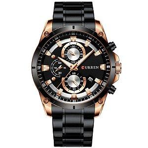 relógio masculino preto dourado pulseira aço CURREN 8360