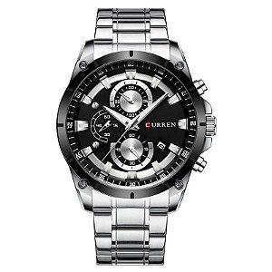 relógio masculino prata preto pulseira aço CURREN 8360