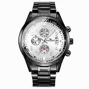 relógio masculino preto prata social pulseira aço FNGEEN G4