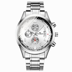 relógio masculino prata social pulseira aço FNGEEN G1