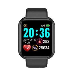 relogio inteligente smartwatch feminino mascu d20 pro preto