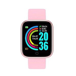 relogio inteligente smartwatch feminino d20 pro rosa dourado
