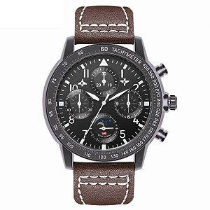 relógio masculino preto esportivo couro  VA VA VOOM 209MP