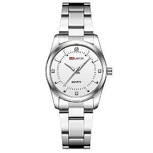 relógio feminino prata branco pequeno analógico aço Arlanch