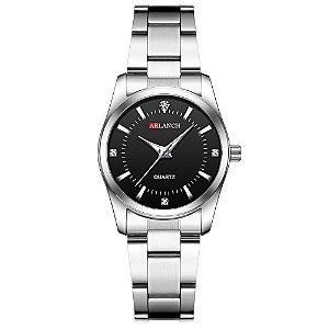relógio feminino prata preto pequeno analógico aço Arlanch