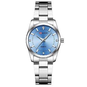 relógio feminino prata azul pequeno analógico aço Arlanch