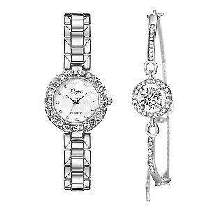Kit relogio bracelet feminino prata preto cravejado Lvpai