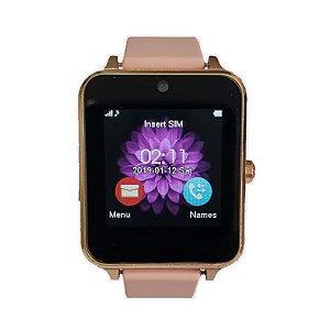 relógio inteligente Smartwatch feminino dourado rosa Z60 DR