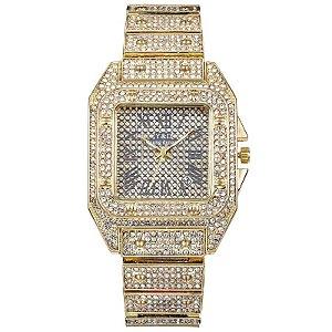Relógio masculino dourado cravejado ice hip hop zircônia Y&D