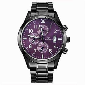 relógio masculino preto roxo social pulseira aço FNGEEN G6