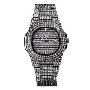 relógio cravejado masculino feminino preto hip hop Genebra