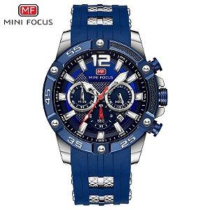 Relógio Masculino Prata Azul Esportivo Militar Mini Focus 249