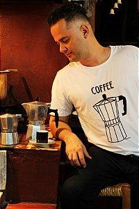 Camiseta Coffee Branca Gola Redonda