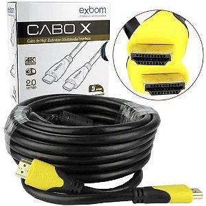 Cabo HDMI 5 Metros 2,0 4k 3D HD CBX-HX50SM Exbom CBX-HX50SM EXBOM