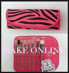Kit 7 Pincéis Macrilan KP5-3B cor Pink Zebra
