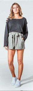 Shorts Cintura Alta Cinza