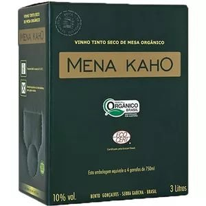 Vinho Mena Kaho Orgânico Tinto Bag In Box 3 Litros