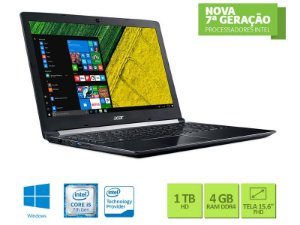 NOTEBOOK ACER A515-51-52CT i5 7200U 4GB DDR4 1TB WIN10 TELA 15.6