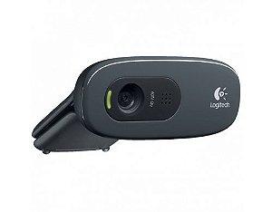 WEB CAM LOGITECH C270 HD COM MICROFONE PRETA