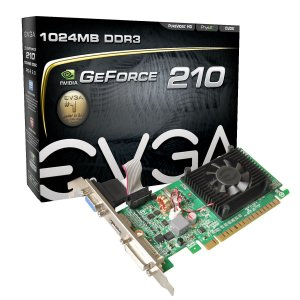 PLACA DE VIDEO EVGA GEFORCE 210 1GB 64 BITS DDR3 PCI-E2.0 DVI+HDMI+VGA 01G-P3-1313-KR