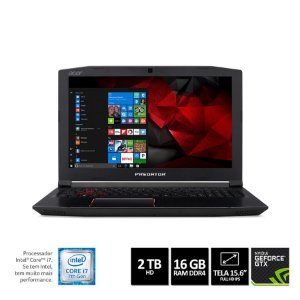 NOTEBOOK GAMER ACER PREDATOR HELIOS 300 G3-572-75L9 I7-7700HQ 16GB HD 2TB GEFORCE GTX 1060 6GB TELA 15,6 WINDOWS 10