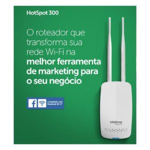 ROTEADOR WIRELESS INTELBRAS HOTSPOT 300 Mbps 500mW 60 USUARIOS 2 ANTENAS
