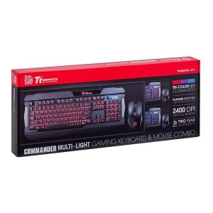 TECLADO E MOUSE GAMER THERMALTAKE COMMANDER MULTI LIGHT TTESPORTS KB-CCM-PLBLPB-01