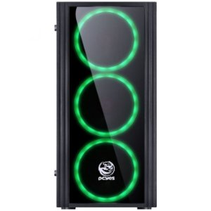 GABINETE GAMER PCYES MID-TOWER SATURN 3 FANS LED VERDE PRETO