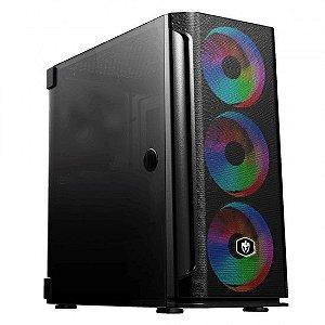 GABINETE GAMER EVOLUT EG-812 MESH RGB BLACK VIDRO