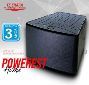 ESTABILIZADOR ELETRONICO TS SHARA 1000VA POWEREST 9007 BIV 115V PRETO