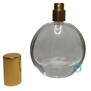 Frasco Oval 60Ml com Spray Dourado para Perfume