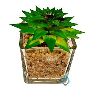 Vaso de Vidro com Suculenta Artificial
