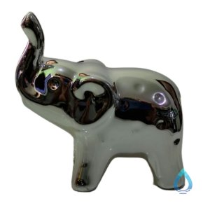 Elefante de Cerâmica Metalizado Prata