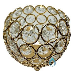 Castiçal Dourado em Metal com Pedra Cristal