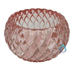 Castiçal Decorativo Rosa em Vidro