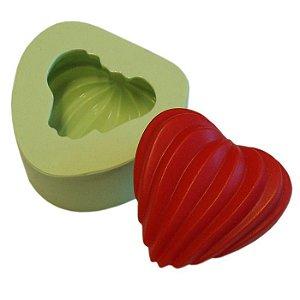 Fôrma de Silicone Coração Canelado