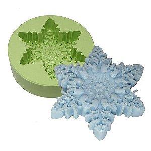 Fôrma de Silicone  Floco de Neve Florido
