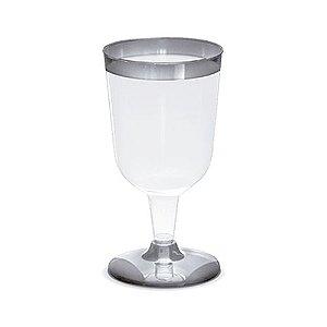 Taça Silverplastic Para Vinho Borda Prata 12X1