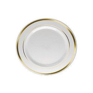 Prato Sobremesa Silverplastic Borda Dourada 6X1