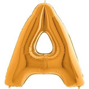 """Balão Flexmetal Dourado """"A"""" 40''/101CM"""