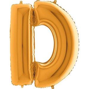 """Balão Flexmetal Dourado """"D"""" 40''/101CM"""